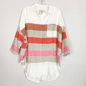 Anthropologie | striped oversized top white XS/S